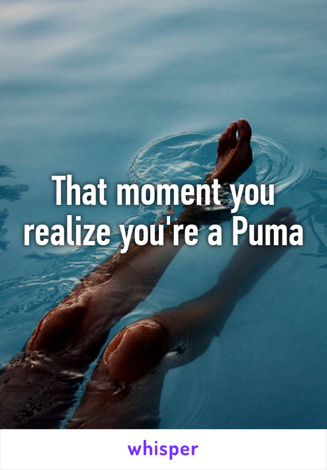 That moment you realize you're a Puma