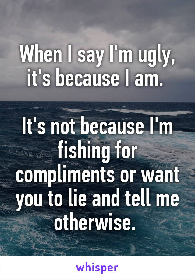 When I say I'm ugly, it's because I am.   It's not because I'm fishing for compliments or want you to lie and tell me otherwise.