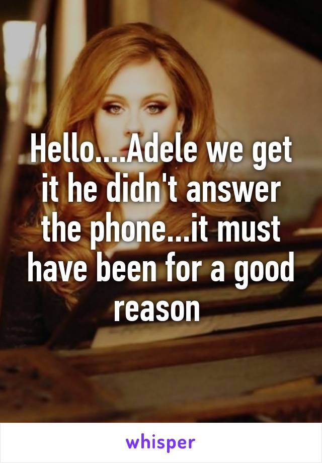 Hello....Adele we get it he didn't answer the phone...it must have been for a good reason