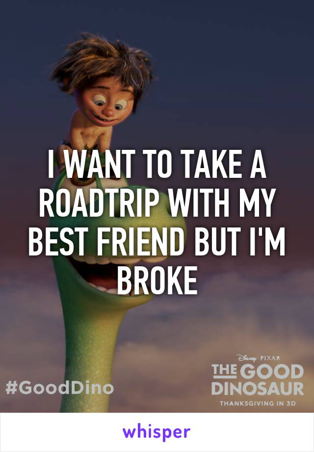 I WANT TO TAKE A ROADTRIP WITH MY BEST FRIEND BUT I'M BROKE