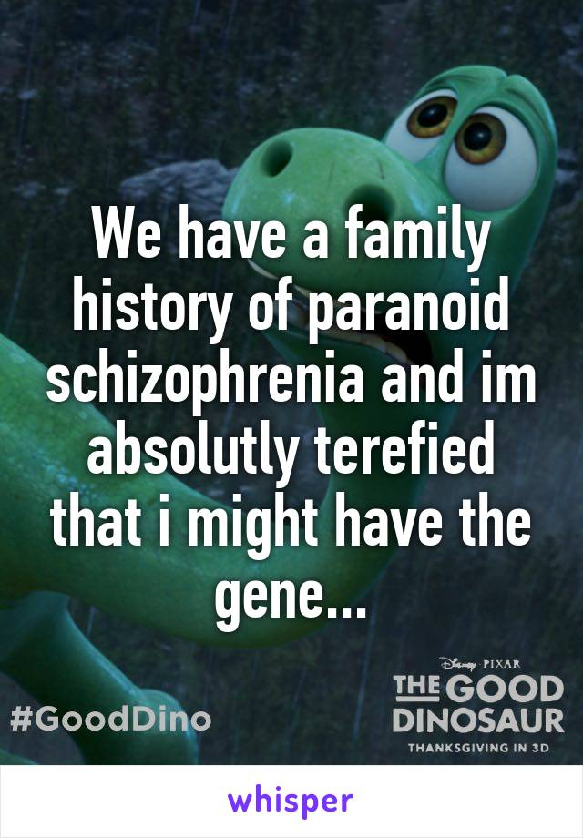 We have a family history of paranoid schizophrenia and im absolutly terefied that i might have the gene...