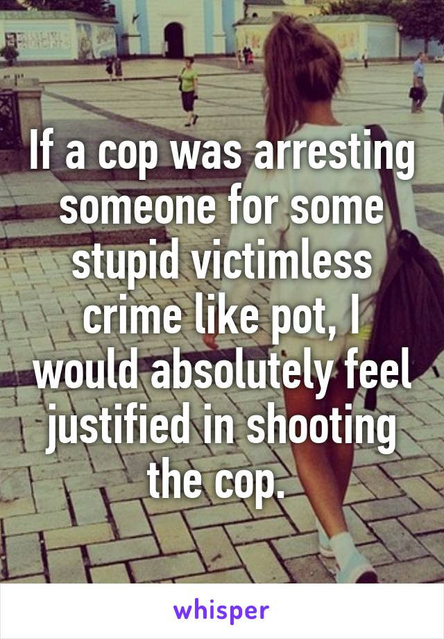 If a cop was arresting someone for some stupid victimless crime like pot, I would absolutely feel justified in shooting the cop.