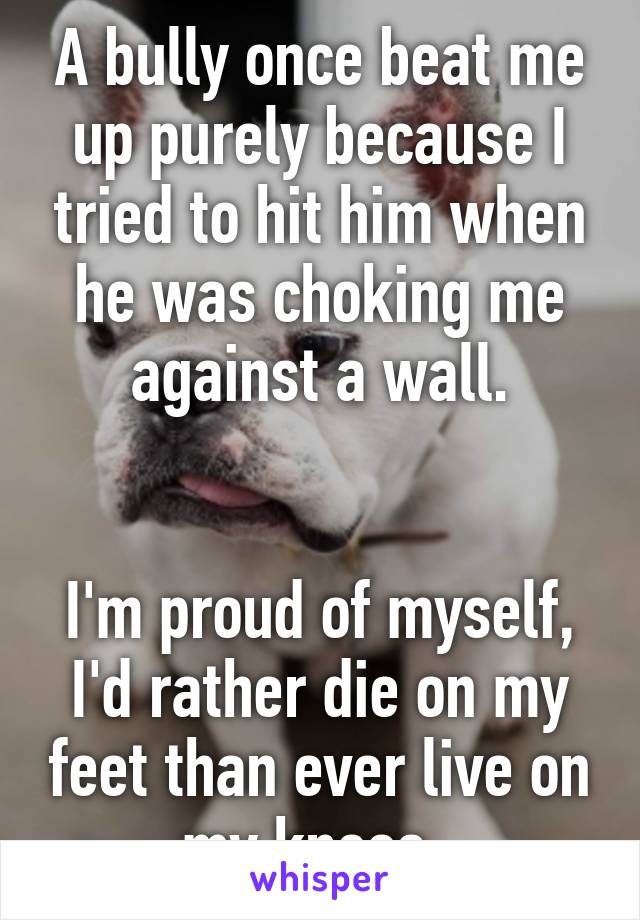 A bully once beat me up purely because I tried to hit him when he was choking me against a wall.   I'm proud of myself, I'd rather die on my feet than ever live on my knees.