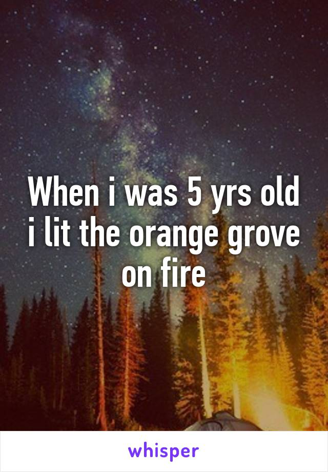 When i was 5 yrs old i lit the orange grove on fire