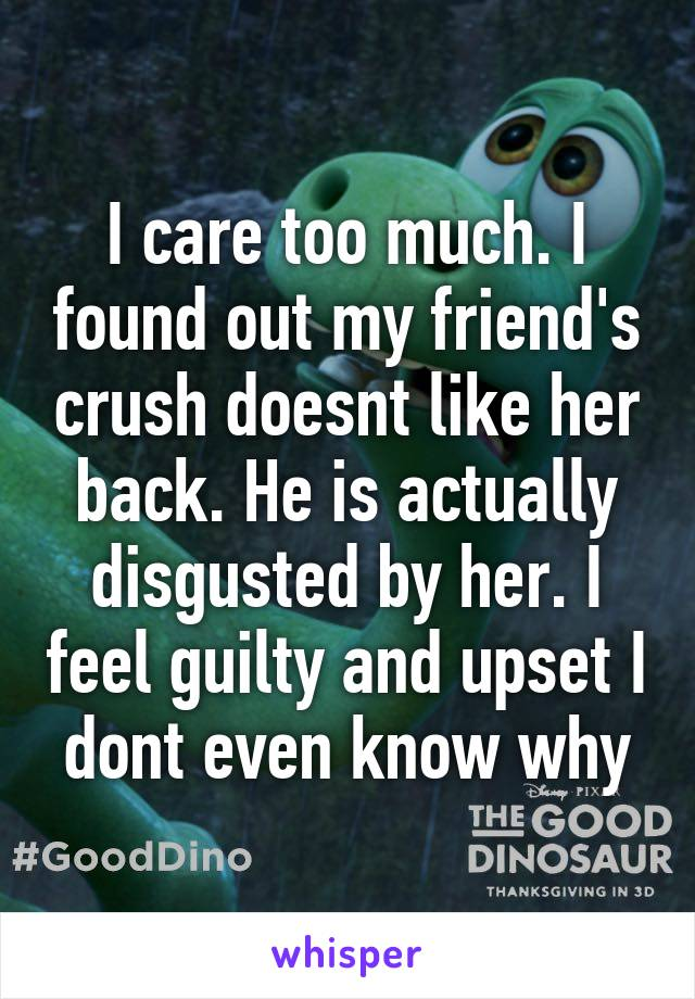 I care too much. I found out my friend's crush doesnt like her back. He is actually disgusted by her. I feel guilty and upset I dont even know why