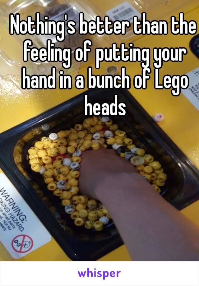 Nothing's better than the feeling of putting your hand in a bunch of Lego heads
