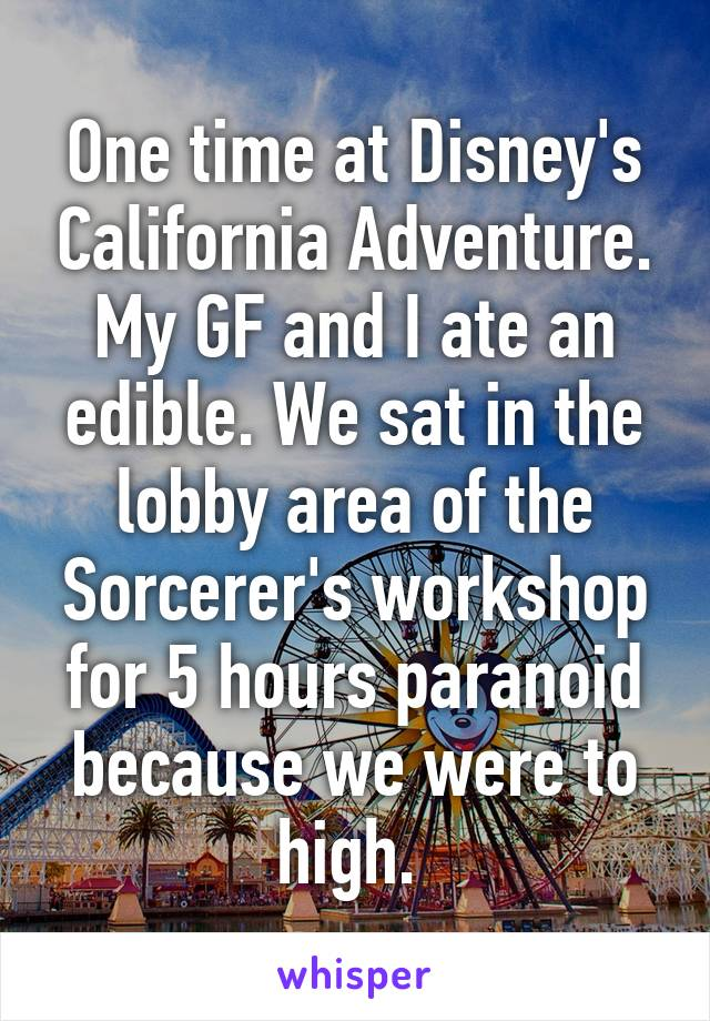 One time at Disney's California Adventure. My GF and I ate an edible. We sat in the lobby area of the Sorcerer's workshop for 5 hours paranoid because we were to high.