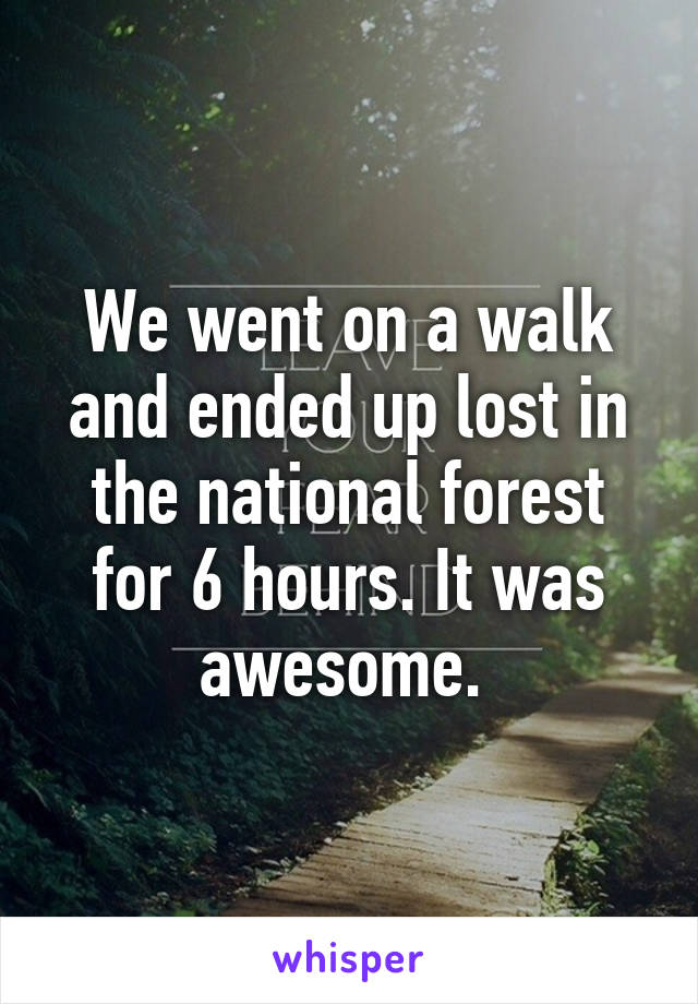 We went on a walk and ended up lost in the national forest for 6 hours. It was awesome.