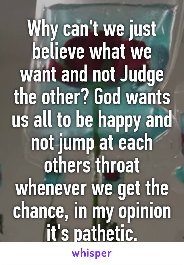 Why can't we just believe what we want and not Judge the other? God wants us all to be happy and not jump at each others throat whenever we get the chance, in my opinion it's pathetic.