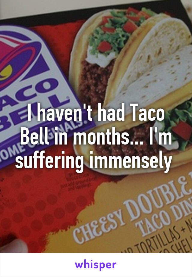 I haven't had Taco Bell in months... I'm suffering immensely