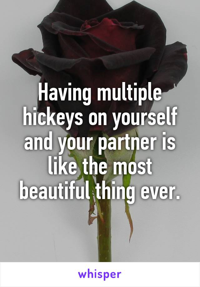 Having multiple hickeys on yourself and your partner is like the most beautiful thing ever.