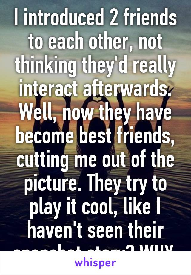 I introduced 2 friends to each other, not thinking they'd really interact afterwards. Well, now they have become best friends, cutting me out of the picture. They try to play it cool, like I haven't seen their snapchat story? WHY.