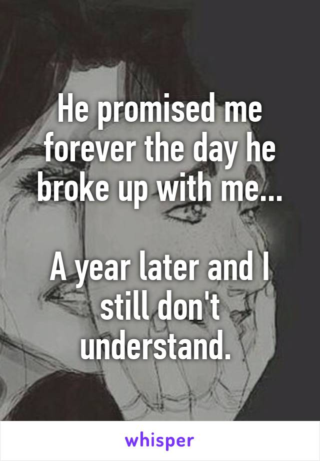 He promised me forever the day he broke up with me...  A year later and I still don't understand.