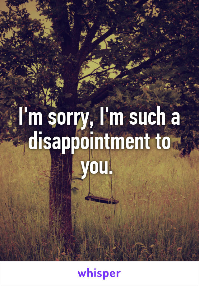 I'm sorry, I'm such a disappointment to you.