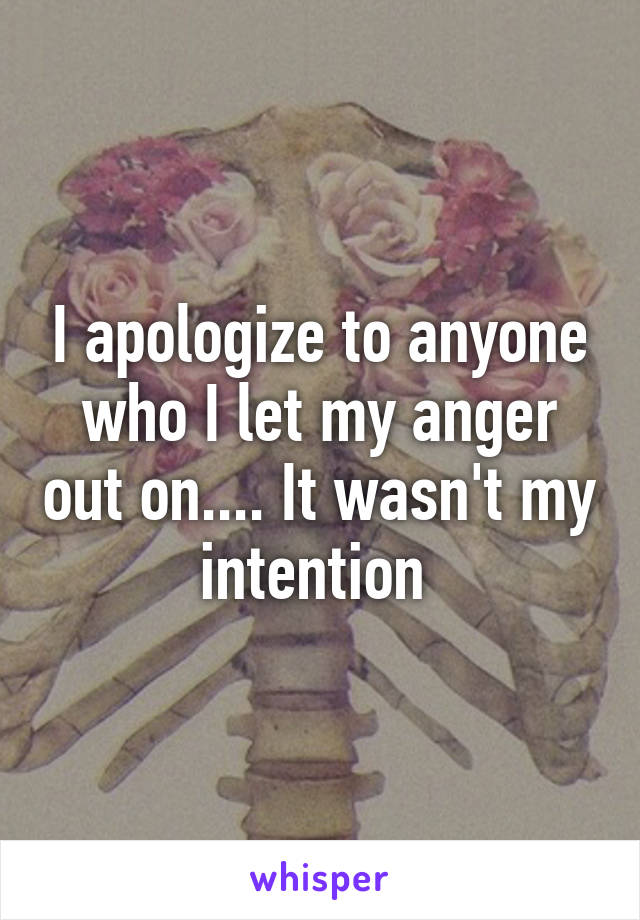 I apologize to anyone who I let my anger out on.... It wasn't my intention