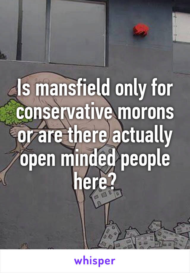 Is mansfield only for conservative morons or are there actually open minded people here?