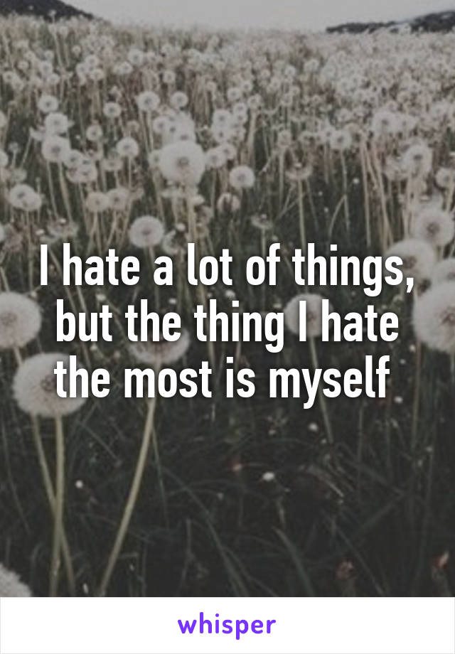 I hate a lot of things, but the thing I hate the most is myself