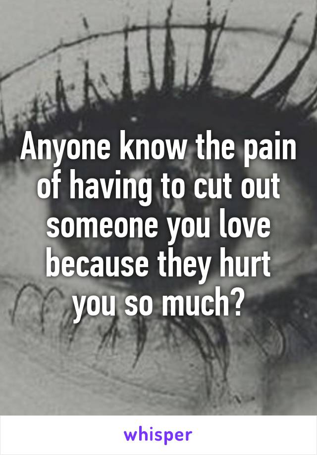 Anyone know the pain of having to cut out someone you love because they hurt you so much?