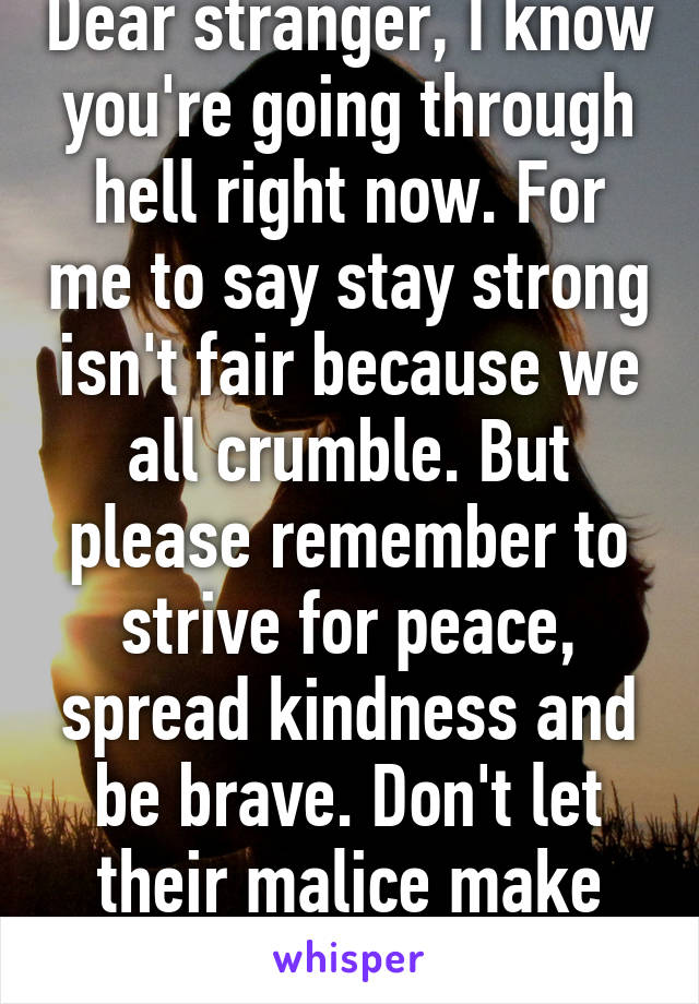 Dear stranger, I know you're going through hell right now. For me to say stay strong isn't fair because we all crumble. But please remember to strive for peace, spread kindness and be brave. Don't let their malice make you spit venom.