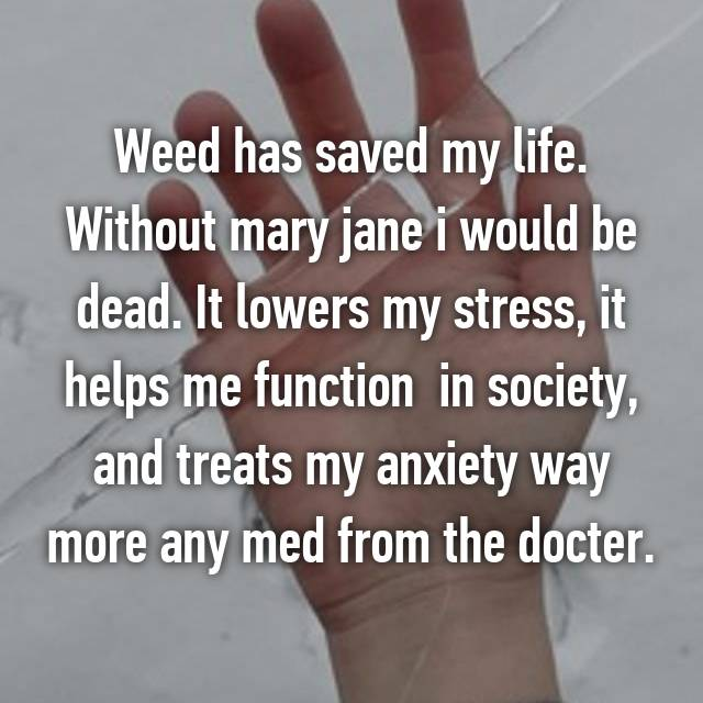 Weed has saved my life. Without mary jane i would be dead. It lowers my stress, it helps me function  in society, and treats my anxiety way more any med from the docter.