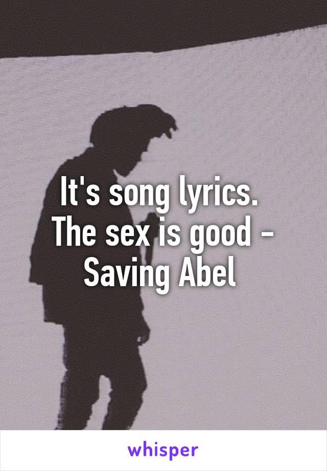 Saving abel sex is good lyrics