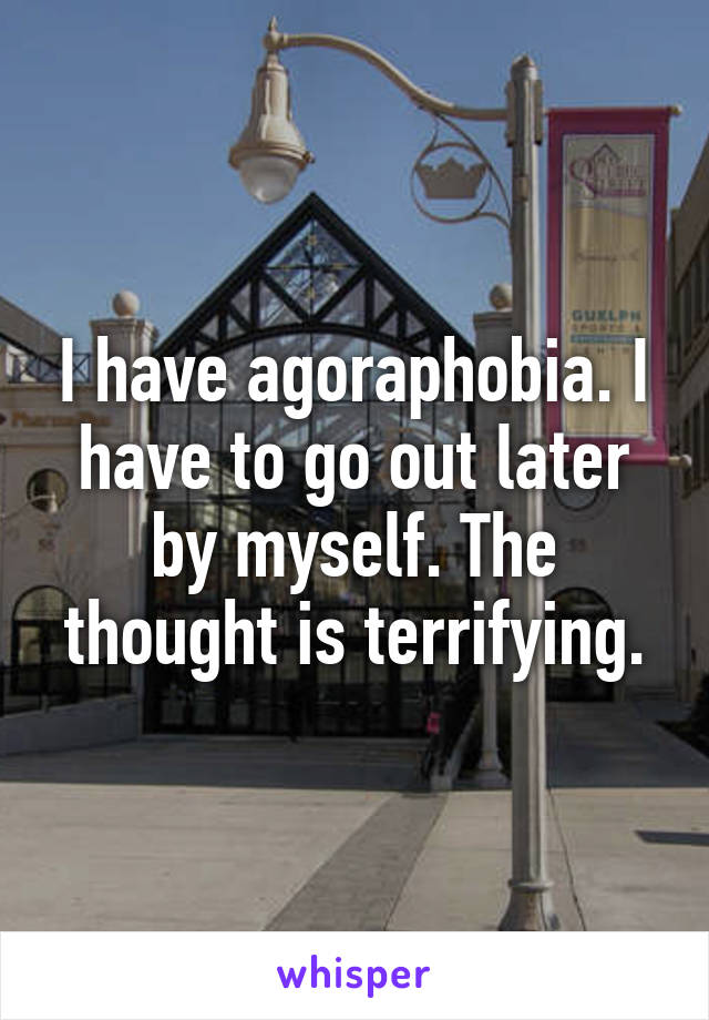 I have agoraphobia. I have to go out later by myself. The thought is terrifying.