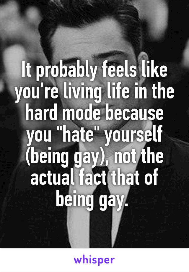 "It probably feels like you're living life in the hard mode because you ""hate"" yourself (being gay), not the actual fact that of being gay."