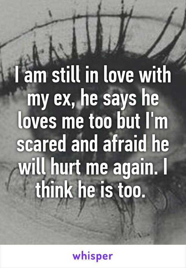 I am still in love with my ex, he says he loves me too but I'm scared and afraid he will hurt me again. I think he is too.