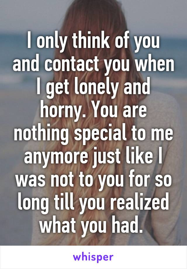I only think of you and contact you when I get lonely and horny. You are nothing special to me anymore just like I was not to you for so long till you realized what you had.