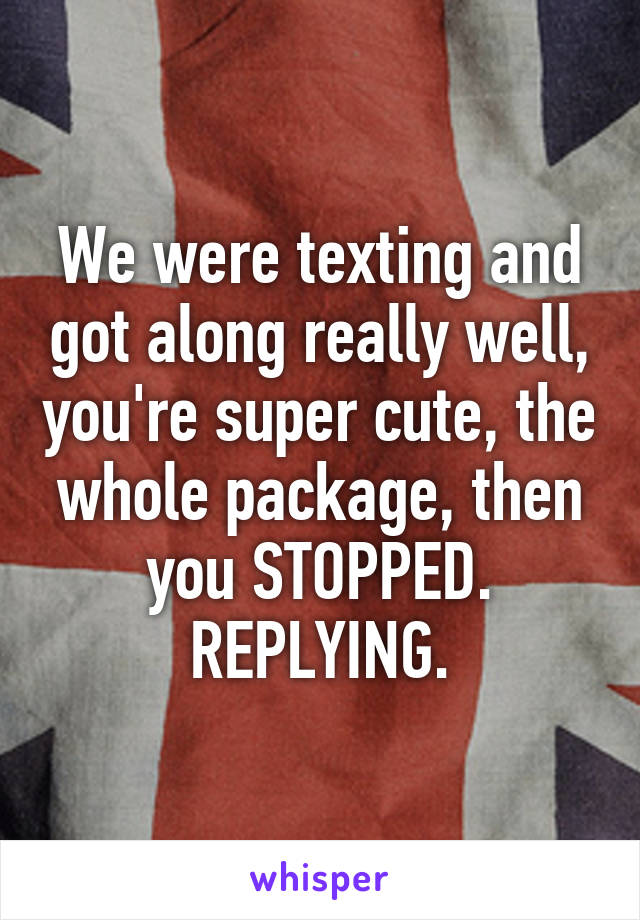 We were texting and got along really well, you're super cute, the whole package, then you STOPPED. REPLYING.