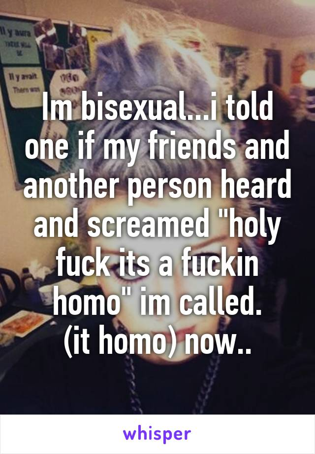 """Im bisexual...i told one if my friends and another person heard and screamed """"holy fuck its a fuckin homo"""" im called. (it homo) now.."""