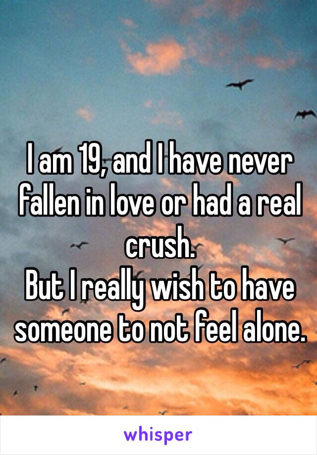 I am 19, and I have never fallen in love or had a real crush. But I really wish to have someone to not feel alone.