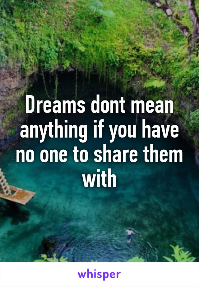 Dreams dont mean anything if you have no one to share them with