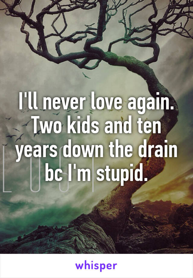 I'll never love again. Two kids and ten years down the drain bc I'm stupid.