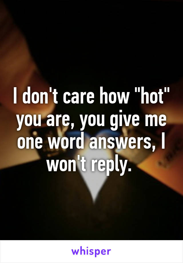 """I don't care how """"hot"""" you are, you give me one word answers, I won't reply."""