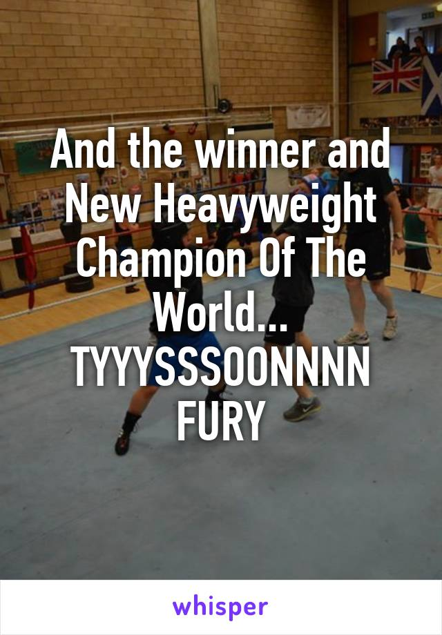 And the winner and New Heavyweight Champion Of The World... TYYYSSSOONNNN FURY