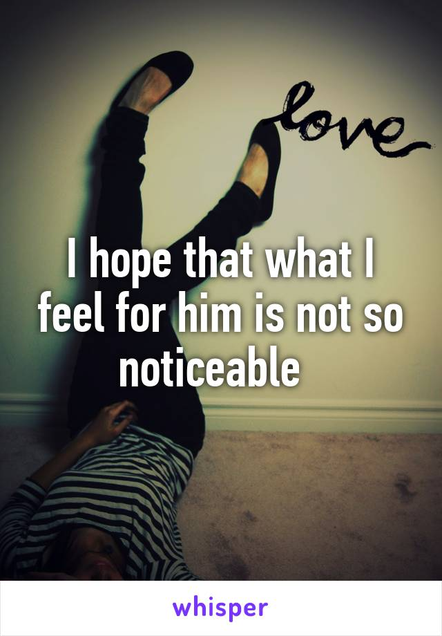 I hope that what I feel for him is not so noticeable