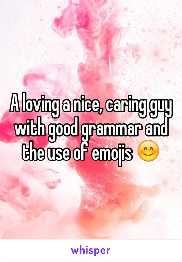 A loving a nice, caring guy with good grammar and the use of emojis 😊
