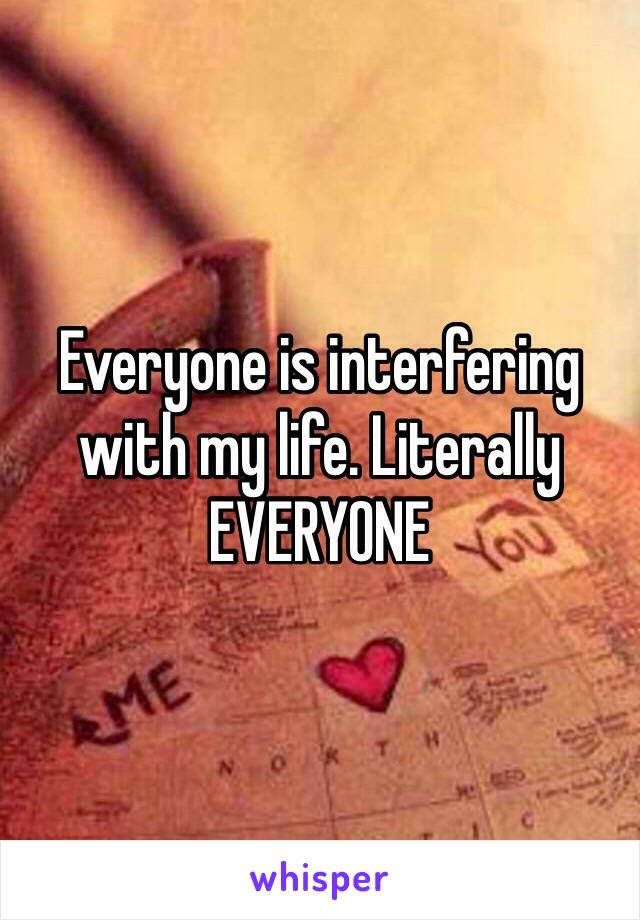 Everyone is interfering with my life. Literally EVERYONE