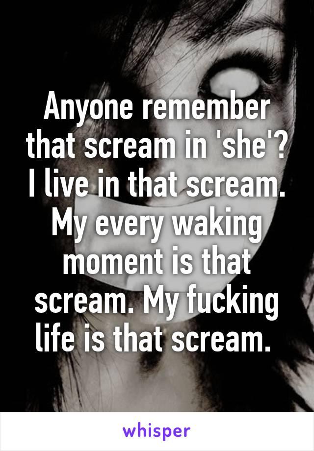 Anyone remember that scream in 'she'? I live in that scream. My every waking moment is that scream. My fucking life is that scream.