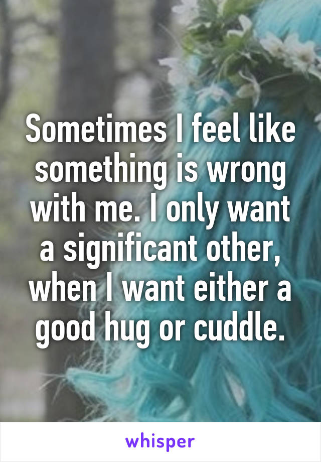 Sometimes I feel like something is wrong with me. I only want a significant other, when I want either a good hug or cuddle.