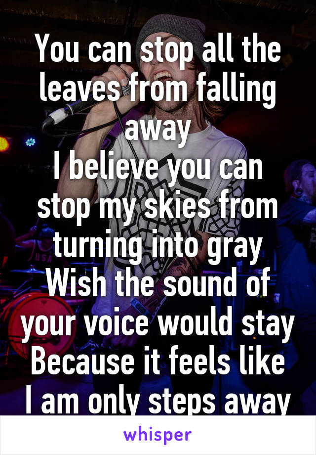 You can stop all the leaves from falling away I believe you can stop my skies from turning into gray Wish the sound of your voice would stay Because it feels like I am only steps away