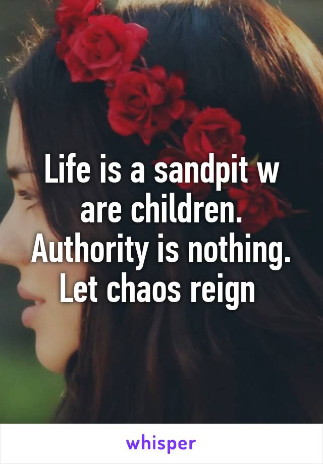 Life is a sandpit w are children. Authority is nothing. Let chaos reign