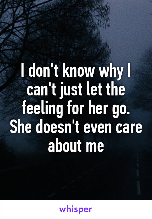 I don't know why I can't just let the feeling for her go. She doesn't even care about me
