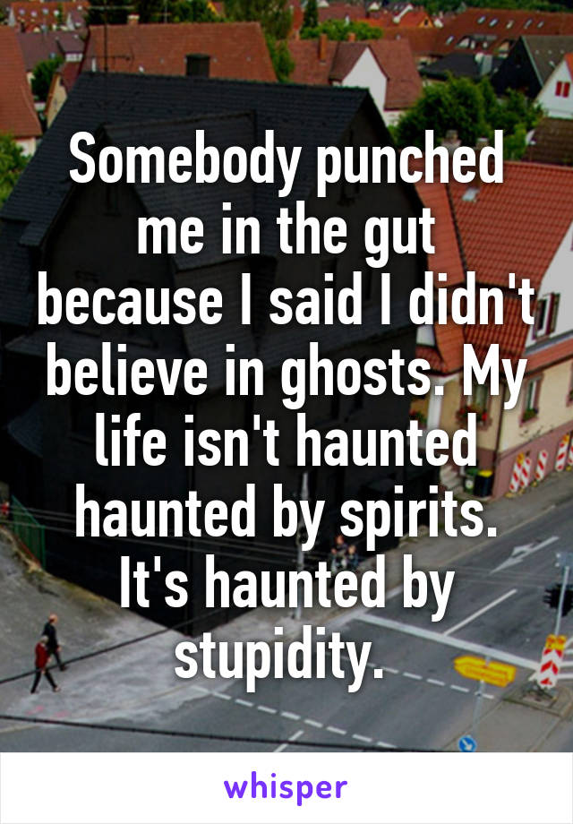 Somebody punched me in the gut because I said I didn't believe in ghosts. My life isn't haunted haunted by spirits. It's haunted by stupidity.