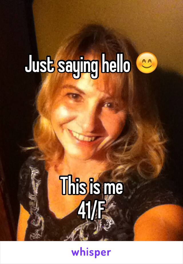 Just saying hello 😊     This is me  41/F