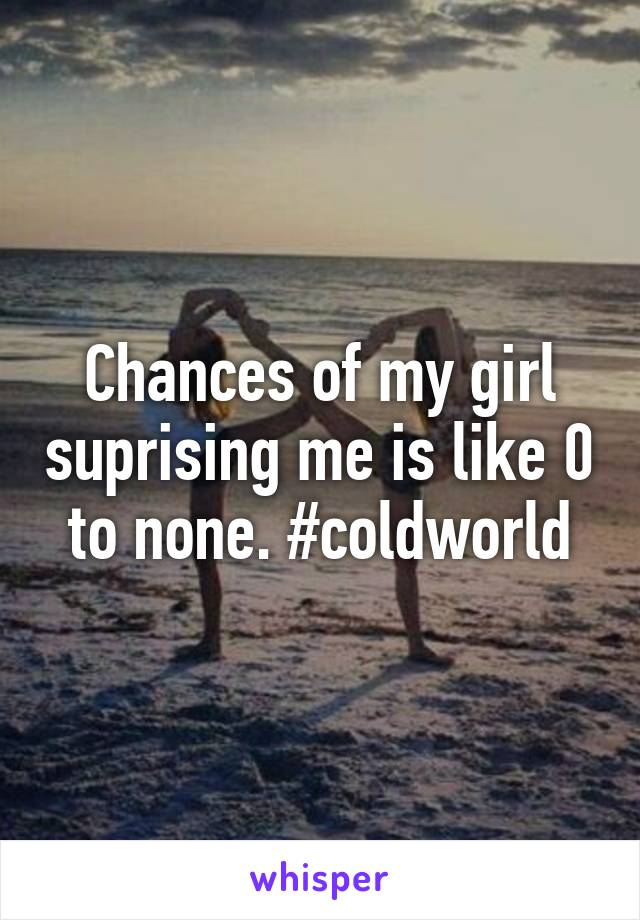 Chances of my girl suprising me is like 0 to none. #coldworld