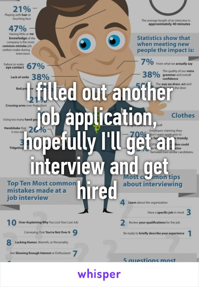 I filled out another job application,  hopefully I'll get an interview and get hired
