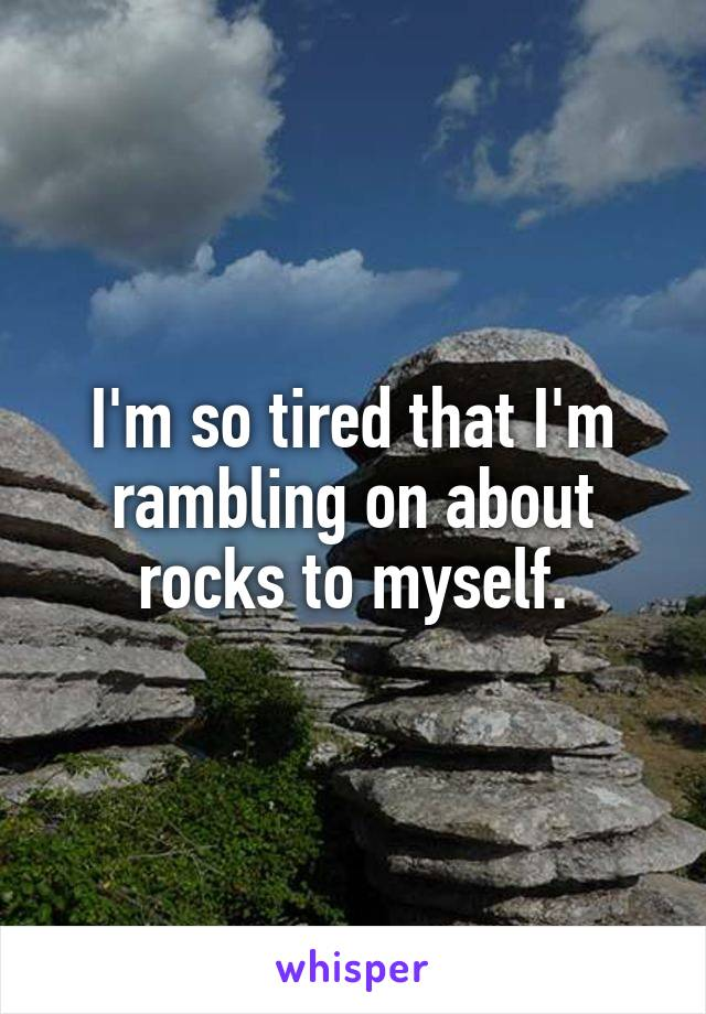 I'm so tired that I'm rambling on about rocks to myself.