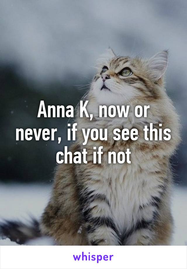 Anna K, now or never, if you see this chat if not